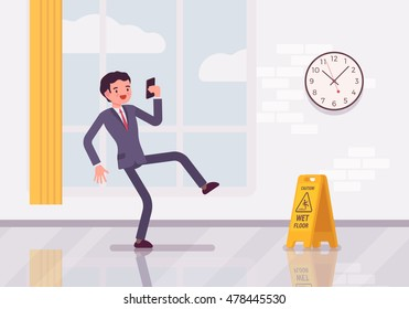 Man with a smartphone slips on the wet floor. Cartoon vector flat-style concept illustration
