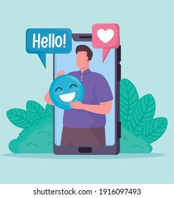 man in smartphone with social media icons vector illustration design