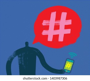 Man with Smartphone talking about Hash tagging, Hashtag, Vector Illustration, Online Presence, Media, Influencers, Technology, Marketing, Influencer, Shopping, Advertising, Tagging, Speech Bubble, Man