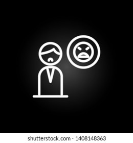 man, smile, pessimistic, thinking neon icon. Elements of positive thinking set. Simple icon for websites, web design, mobile app, info graphics