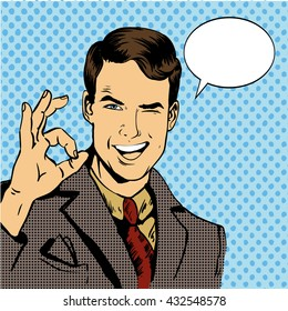 Man smile and shows OK hand sign with speech bubble. Vector illustration in retro comic pop art style.