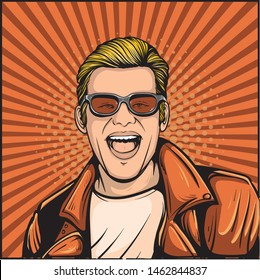 Man with smiling face and leather jacket. Cartoonized pop art comic style illustration