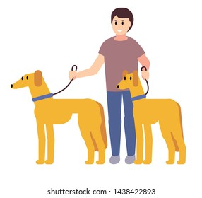 Man smiling holding leashes of two pedigree dogs. Dog breeder with dogs isolated on white background. Outdoor leisure with pets. Best friend of man concept. Flat cartoon vector illustration