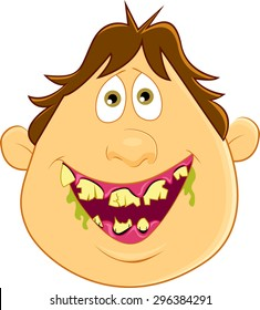 A man smiling with rotten teeth and bad breath