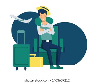 Man smiling sleeping on seat in airport. Happy tourist napping waiting in departure lounge at night. Night flight banner illustration. Departure delayed. Relax in airport. Flat cartoon vector