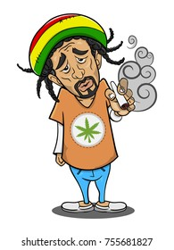 A Man smoking cannabis cartoon vector