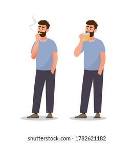 man are smoking cigarette and drink beer. healthy concept, vector llustration cartoon character