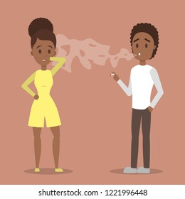 Man smoking a cigarette in public place. Air pollution and passive smoking. Angry african american woman cannot breathe. Bad tobacco addiction. Flat vector illustration
