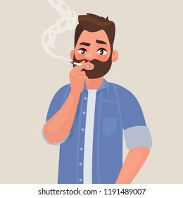 Man is smoking a cigarette. Tobacco dependence. The concept of an unhealthy lifestyle. Vector illustration in cartoon style