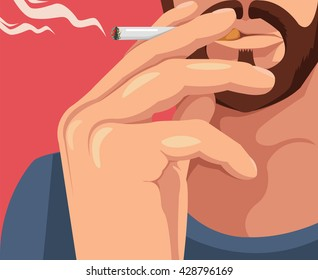 Man smoking cigarette. Vector flat cartoon illustration