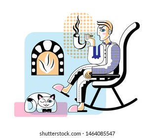 Man smoking pipe flat vector illustration. Male retro cartoon character relaxing, sitting in rocking chair. Private detective solving crime case at home isolated clipart. Cute cat lying on floor
