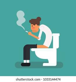 Man smoking in the toilet