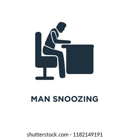 Man Snoozing icon. Black filled vector illustration. Man Snoozing symbol on white background. Can be used in web and mobile.