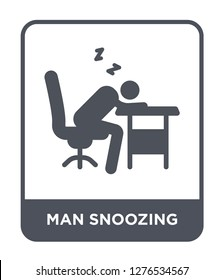 man snoozing icon vector on white background, man snoozing trendy filled icons from Behavior collection, man snoozing vector illustration