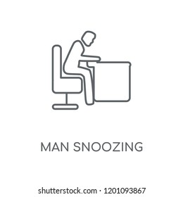 Man Snoozing linear icon. Man Snoozing concept stroke symbol design. Thin graphic elements vector illustration, outline pattern on a white background, eps 10.
