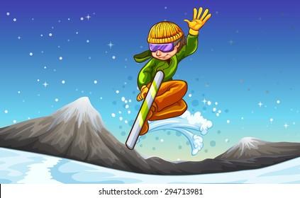 Man snowboarding on the mountain full of snow