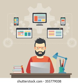 Man software engineer concept with design, optimization, responsive and developer solutions.