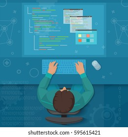 Man software engineer concept with design, optimization, responsive and developer solutions. Coder top view virtual workspace