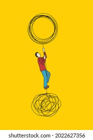 Man solving business problem metaphor. Tangled and untangled tangle. Coach concept. Idea of achieving goal