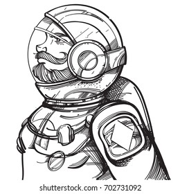 Man in a spacesuit. Astronaut. King of diamonds. Character for space playing cards, posters, coloring books and other items.