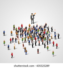 Man with speaker and big crowd of people. The real leader concept. Vector illustration.