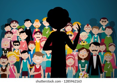 Man Speaking to Audience. Person Silhouette on Conference Giving Speech Vector Illustration.