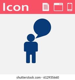 Man speaking flat icon. Talk vector illustration.