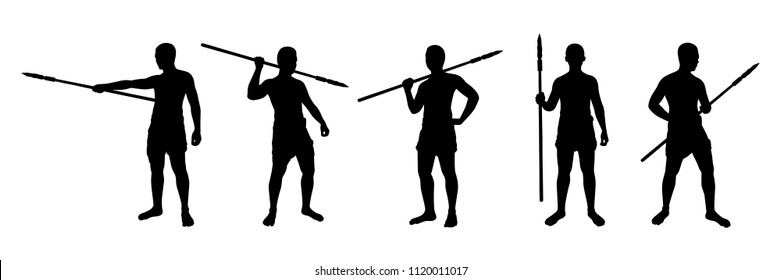 Man with spear silhouette vector set