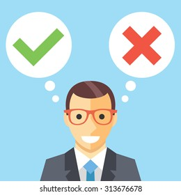 Man and speech bubbles with checkmarks flat illustration. Decision making concept. Modern flat design concepts for web banners, web sites, printed materials, infographics. Creative vector illustration