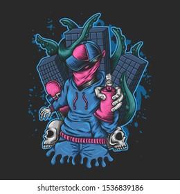 Man Spray monster kraken attack illustration for your company or brand
