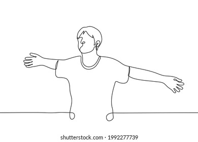 Man spread his arms like wings - one line drawing vector. the concept of a friendly warm hug or enjoying the moment