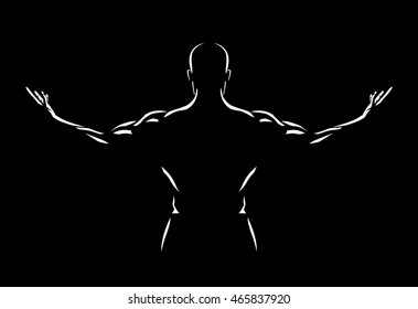 Man spreading out arms for show back muscles in the dark.