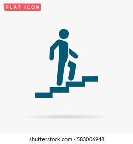 Man stairs Icon Vector. Flat simple Blue pictogram on white background. Illustration symbol with shadow.