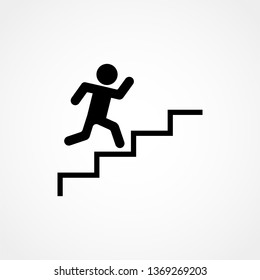 Man stairs icon. For web, business, finance and communication. Vector Illustration.