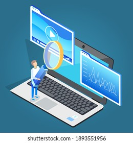 Man stand on laptop with magnifying glass. Play multimedia on electronic device. Guy hold big hand lens to watch closer statistics graphs on computer display. Vector illustration in flat style