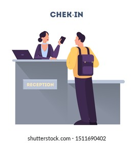 Man standing in the airport at check-in counter. Passenger with baggage. Idea of tourism and transportation. Isolated flat vector illustration
