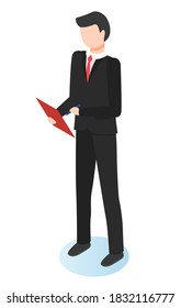 Man standing alone with notepad in hands, person isolated on white. Manager or businessman prepare for meeting or financial report. Guy work as analyst or financier in company. Vector, isometric