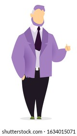 Man standing alone, person posing isolated on white. Manager or businessman talking to somebody actively gesturing. Boss in suit, jacket and pants on meeting. Vector illustration in flat style