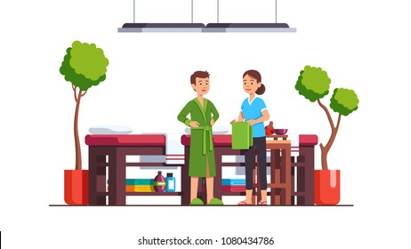 Man standing in bathrobe preparing for oriental spa salon massage talking to masseuse therapist women. Luxury cabinet with benches, plants. Massage room decoration, furniture. Flat vector illustration