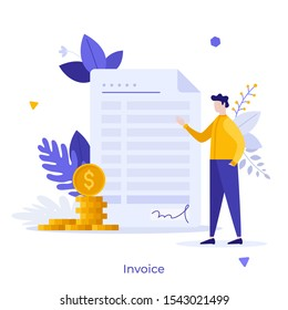 Man standing beside invoice or bill and stack of dollar coins. Concept of financial document, payment, business money transaction or transfer, finance calculation. Modern flat vector illustration.
