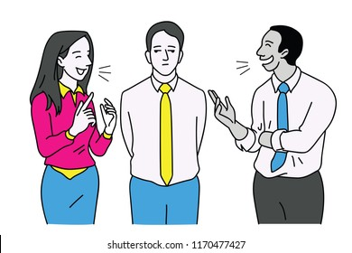 Man standing between two friends who keep talking and chatting joyfully, but he feels bored and nonparticipant. Vector illustration character, outline, linear, thin line art, hand drawn sketch.