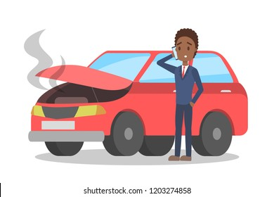 Man standing at the broken red car and calling to the mechanic on the phone. Automobile repair service. Smoke from the auto. Flat vector illustration