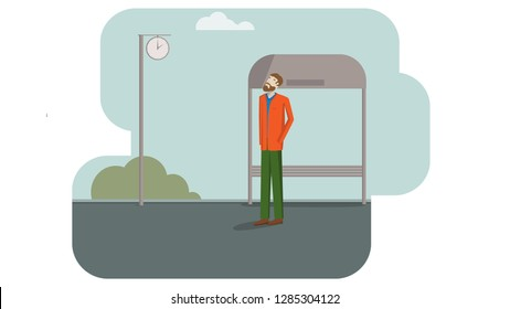 A man is standing at the bus stop, waiting and watching at the clock.
