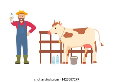 Man standing by cow vector, farmer showing ready production, milkman with milk in bottle and cattle standing at stables, livestock tending and care