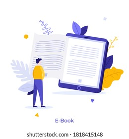 Man standing in front of giant electronic book. Concept of e-book, portable device or gadget for reading and education, digital reader. Modern flat colorful vector illustration for banner, poster.
