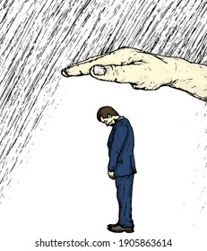 Man standing with his head bow in sadness shielded by a giant hand from the rain. Hand drawn vector illustration.