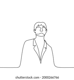 man is standing in a jacket looking down at the viewer - one line drawing vector. the concept of arrogance, elitism, narcissism, snobbery, swagger