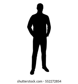 Man standing in jumper and jeans has hand in his pockets, vector silhouette