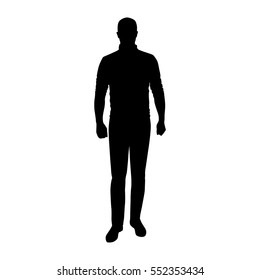 Man standing in jumper and jeans, vector silhouette