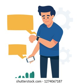 Man standing and looking at his smartwatch, man standing and looking at a notification at his smartwacth from his phone, Synchronisation and paring between smartwatch and smartphone, vector flat